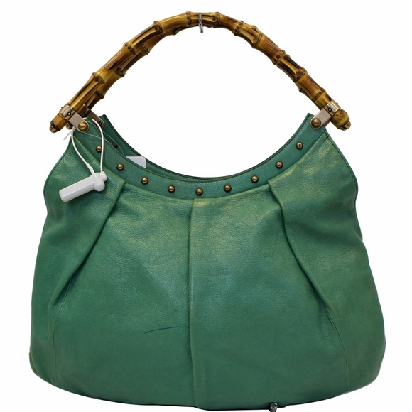 4db734b64180 Gucci Bags | Green Leather Bamboo Top Handle Shoulder Bag | Poshmark